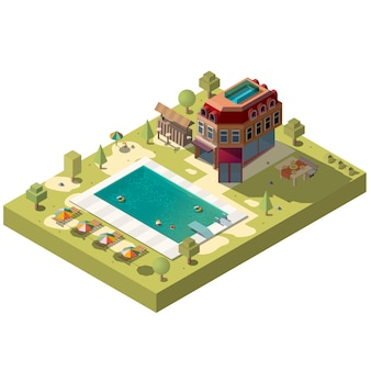 Resort hotel with swimming pool isometric