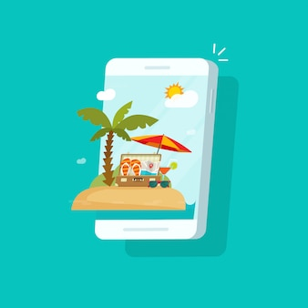 Resort scene on mobile phone screen or online travel booking via cellphone vector illustration flat cartoon design