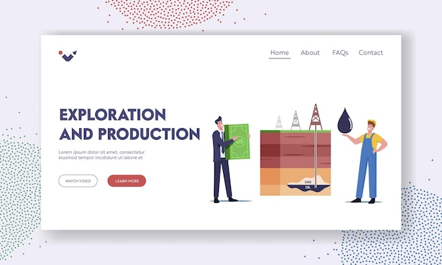 Resource exploration and production landing page template. businessman and worker characters change oil on money at cross section with rig extracting oil and gas. cartoon people vector illustration