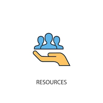 Концепция ресурсов 2 значок цветной линии. простой желтый и синий элемент иллюстрации. ресурсы концепция наброски символ дизайн