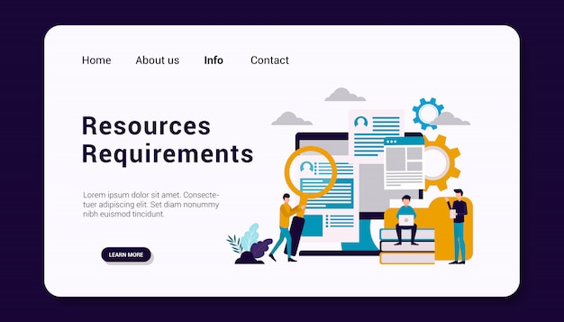 Resources requirements landing page template, flat design illustration