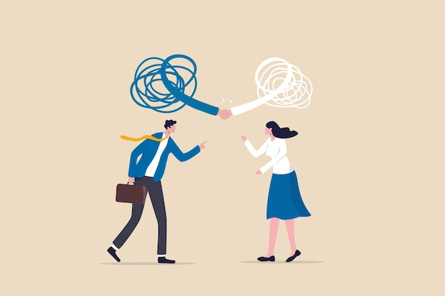 Respect different dissent, accept conflict opinion for work collaborate, professional work discussion concept, businessman and woman fighting or arguing on work with sign of respectful handshaking.