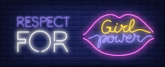 Respect for girl power neon sign. Colorful inscription and lips silhouette on brick wall.