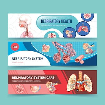 Respiratory banner design with human anatomy of lung