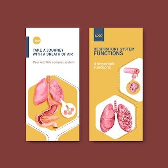 肺の人体解剖学と健康管理を備えた呼吸チラシのデザイン