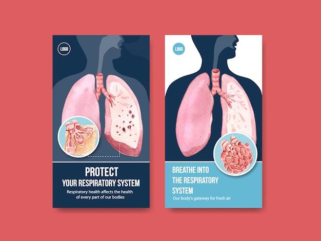 Дизайн шаблона респираторного instagram с анатомией человека и здоровым уходом