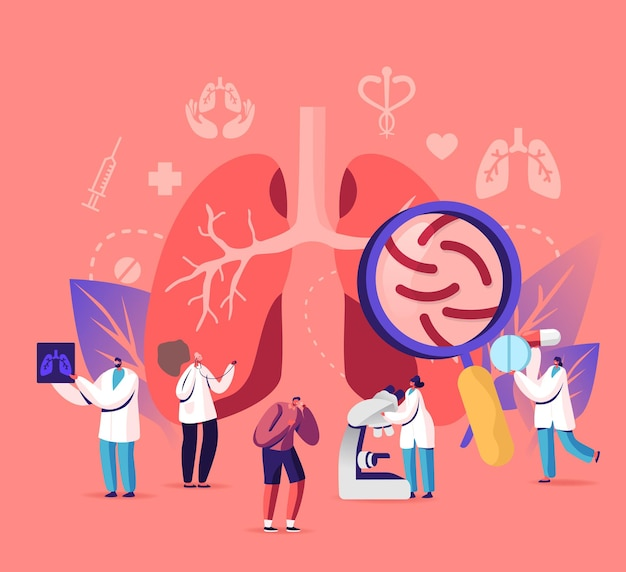 호흡기 의학 폐 의학 건강 관리 개념. 만화 평면 그림