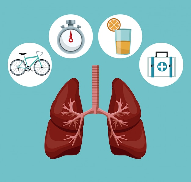 Respiratory system with icons of heath elements around