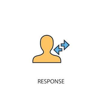 응답 개념 2 컬러 라인 아이콘입니다. 간단한 노란색과 파란색 요소 그림입니다. 응답 개념 개요 기호 디자인