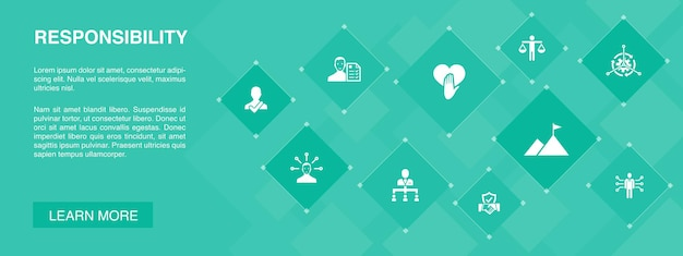Ответственность баннер 10 иконок концепции. делегирование, честность, надежность, доверие простые иконки