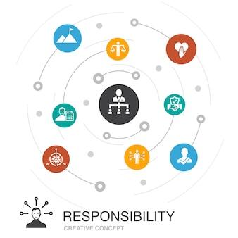 간단한 아이콘으로 책임 색 원 개념입니다. 위임, 정직, 신뢰성, 신뢰와 같은 요소를 포함합니다.