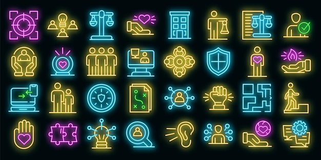 Responsibility icons set. outline set of responsibility vector icons neon color on black