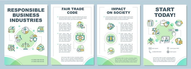 Responsible business industries brochure template. conscious supplier. flyer, booklet, leaflet print, cover  with linear icons.  layouts for magazines, annual reports, advertising posters