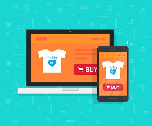 Responsive internet shop development design or online store web site page showed on laptop and smartphone vector illustration