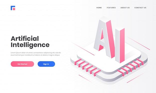 Адаптивный дизайн целевой страницы с 3d-чипом ai и цифровой схемой для концепции искусственного интеллекта (ai).