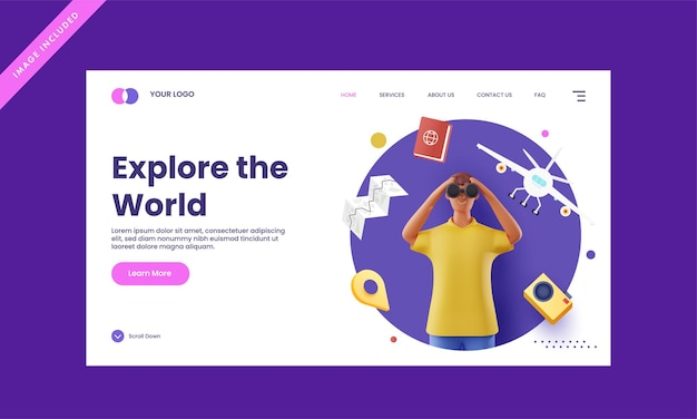 Responsive landing page design with 3d rendering man looking through binocular for explore the world concept.