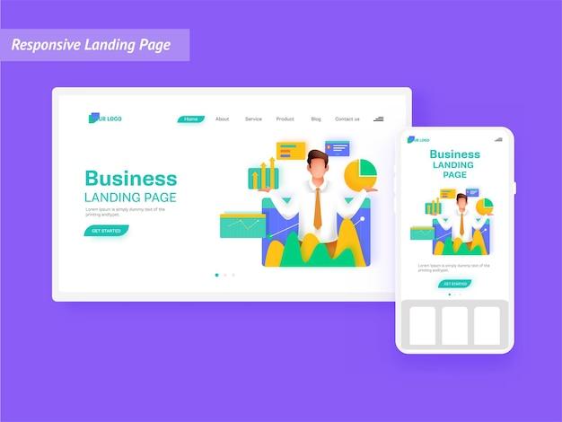 Адаптивный дизайн целевой страницы с бизнес-аналитиком, управляющим или балансирующим данные на белом фоне.