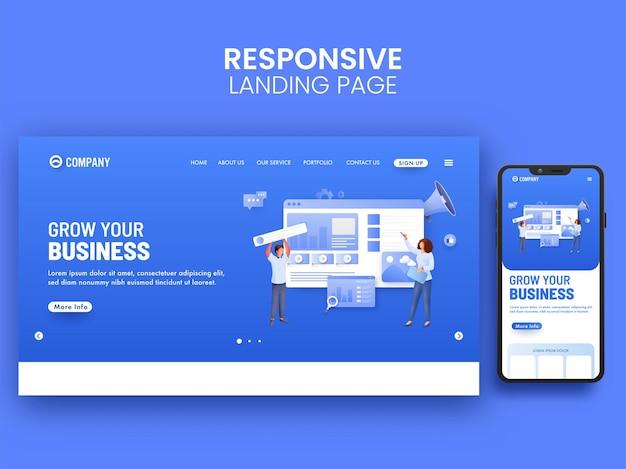 Адаптивный дизайн целевой страницы с сотрудниками, работающими вместе для развития бизнес-концепции.