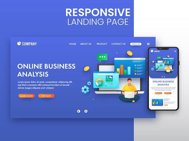 オンラインビジネス分析の概念のためのスマートフォンを使用したレスポンシブランディングページのデザイン。