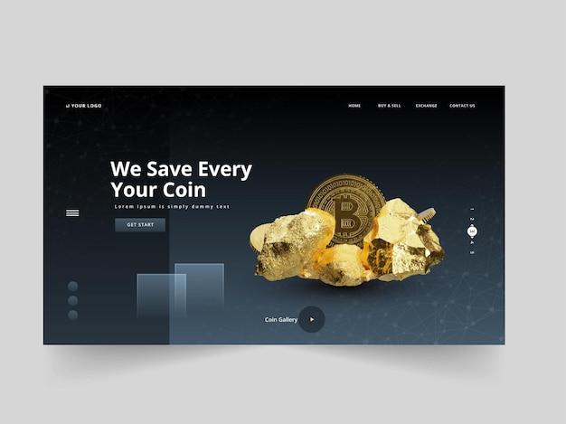 Адаптивный дизайн целевой страницы или веб-шаблона с 3d-иллюстрацией золотых камней и биткойнов.