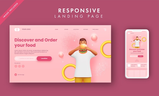 Адаптивная целевая страница с 3d-рендерингом человек, держащий гамбургер для заказа еды.