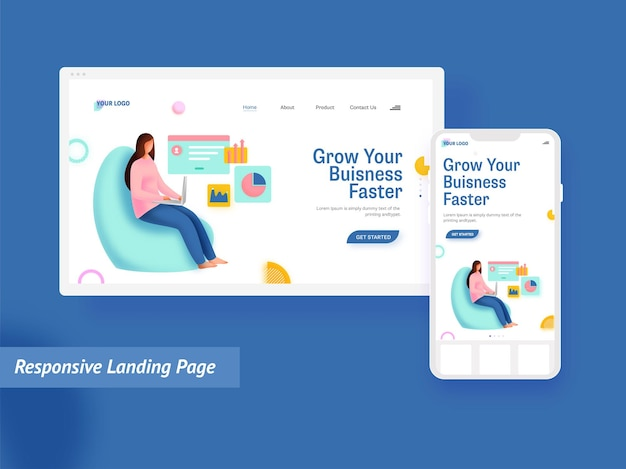 Responsive landing page with employee woman working at sofa for business faster concept.