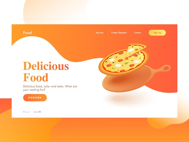 Responsive landing page  with pizza on frying pan for delicious food.