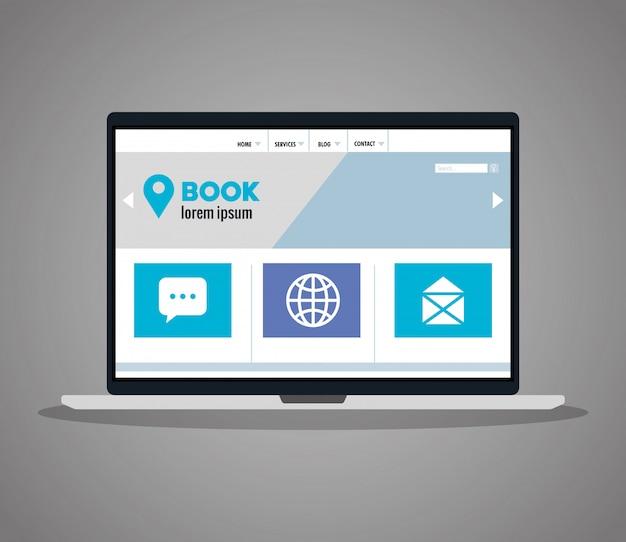 ラップトップでのレスポンシブウェブ、コンセプトウェブサイトの開発