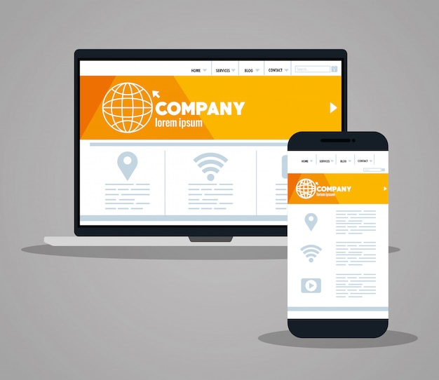 Responsive web, concept website development in laptop and smartphone