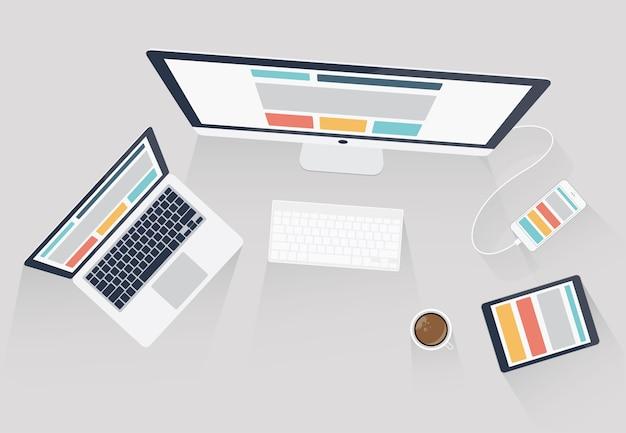 レスポンシブなwebデザインとweb開発のベクトル図