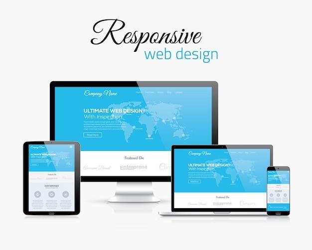 현대 평면 벡터 스타일 컨셉 이미지에서 응답 성이 뛰어난 웹 디자인