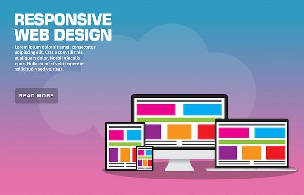 Responsive web design landing page template