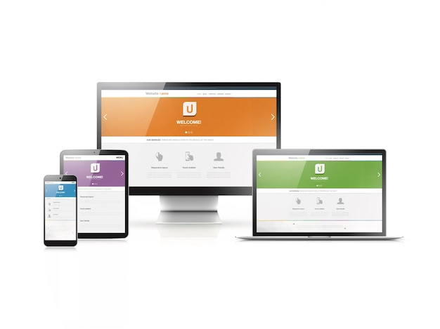 Responsive web design in modern highly detailed electronic devices. flat website styles in four colors.