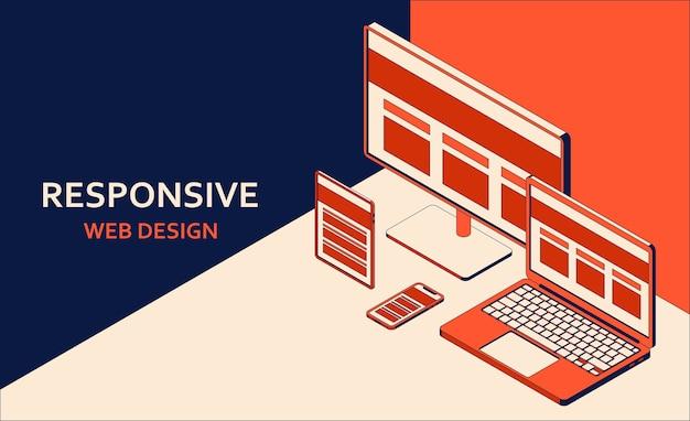 반응 형 웹 디자인. 태블릿, 노트북, 컴퓨터, 모바일 데스크톱, 웹 애플리케이션 개발 및 다양한 장치에 대한 페이지 구성. 등각 투영