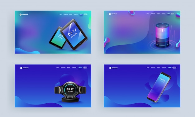 Responsive web template or landing page set with gadgets like as smartphone, voice assistant, tablets and smart watch