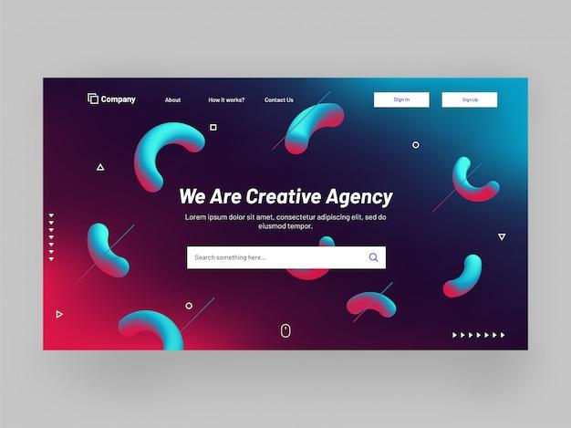 Responsive website banner or landing page design