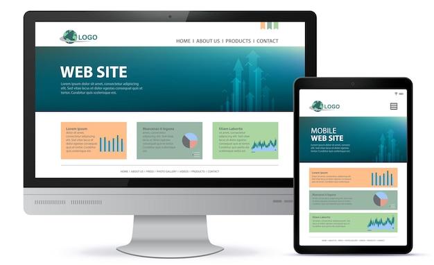Адаптивный дизайн веб-сайта с экраном настольного компьютера и иллюстрацией планшетного компьютера