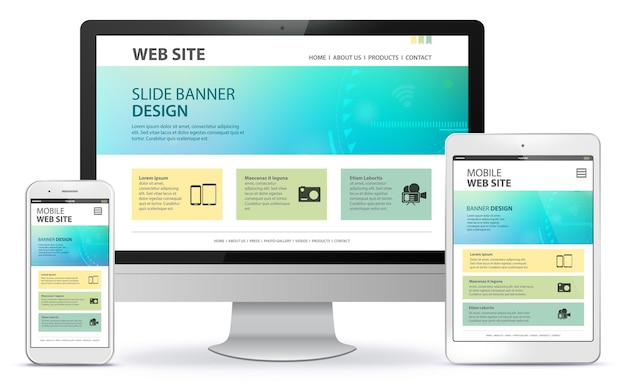 Адаптивный дизайн веб-сайта с экраном настольного компьютера, мобильным телефоном и иллюстрацией планшетного пк