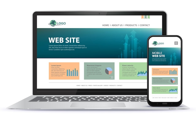 노트북 컴퓨터와 휴대 전화 화면 일러스트와 함께 반응 형 웹 사이트 디자인