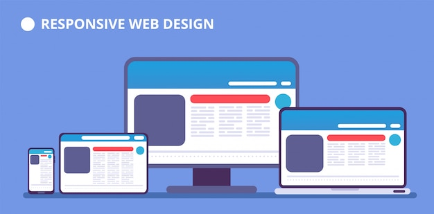 Responsive website. webpage on different devices. tablet and phone, laptop and computer display with web design. vector illustration