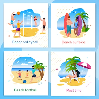 Rest and active time on beach cartoon cards set. volleyball, football, surfside and resting zone. summer vacation and recreation outdoors. vector active people having fun