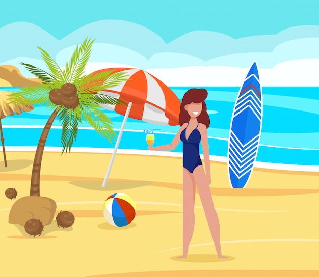 Rest on beach under palm trees vector illustration