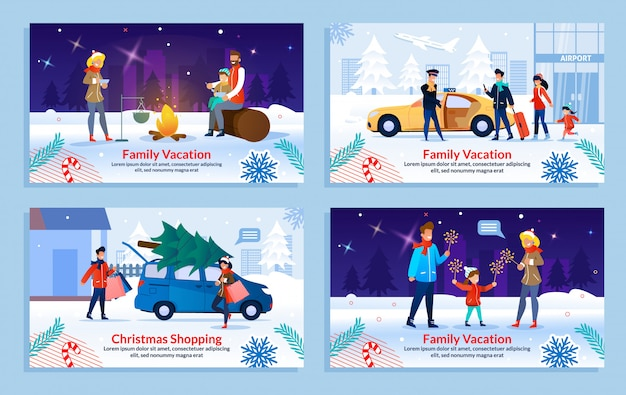 Rest on family vacation in winter banner set