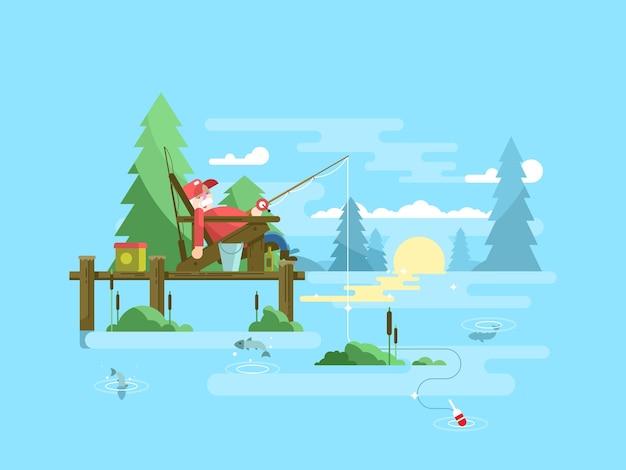 Отдых на рыбалке. отдых и релаксация, открытый туризм рыбы, векторные иллюстрации Premium векторы