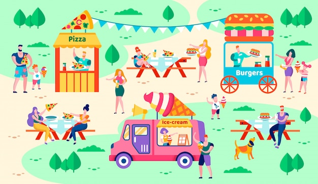 Rest and food in city park vector illustration.