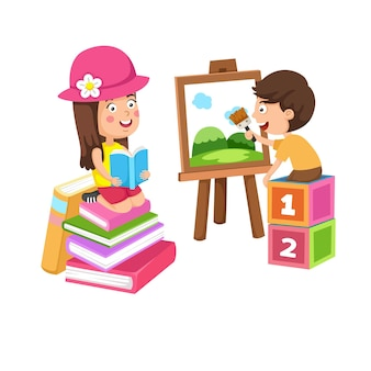 Rest and hobby of children painting and  reading book