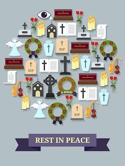Покойся с миром знак. круглый символ, состоящий из элементов на тему похорон и похорон.