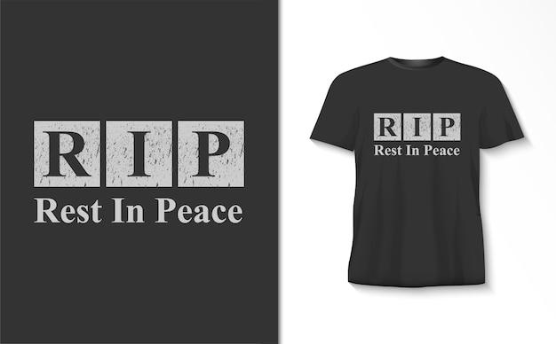 Покойся с миром типография футболка