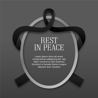 Rest in peace oval frame with ribbon