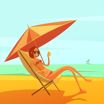 Rest at sea background with woman in a chaise lounge drinking cocktail